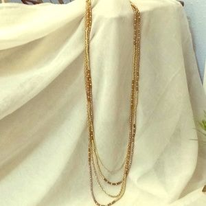 LONG BROWN AND GOLD NECKLACE WITH 4 STRANDS